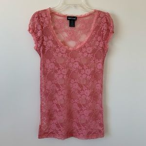 Full Lace Dusty Pink Short Sleeve Tee Top